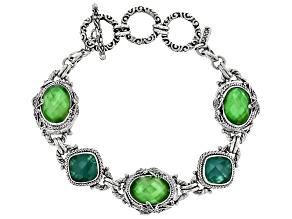 Green Tsavorite Color Quartz Triplet Silver Bracelet
