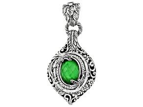 Green Tsavorite Color Quartz Triplet Silver Pendant