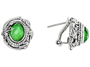 Green Tsavorite Color Quartz Triplet Silver Earrings