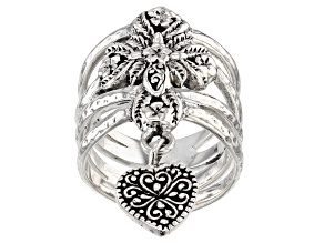 Sterling Silver Cross And Heart Ring