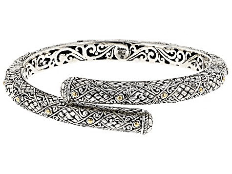 Sterling Silver And 18k Gold Accent Bypass Bracelet