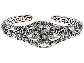 Sterling Silver And 18k Gold Accent Hammered Bracelet