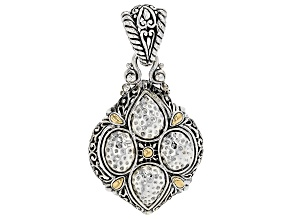 Sterling Silver And 18k Gold Accent Hammered Pendant