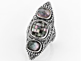Multicolor Black Lip Mother of Pearl Silver Ring