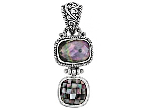Multicolor Black Lip Mother Of Pearl Silver Pendant