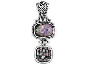 Multicolor Black Lip Mother Of Pearl Silver Pendant