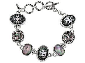 Multicolor Black Lip Mother Of Pearl Silver Bracelet