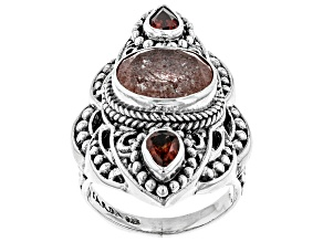 Red Cherry Quartz  Sterling Silver Ring 4.43ctw