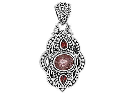 Red Cherry Quartz  Sterling Silver Pendant 4.43ctw