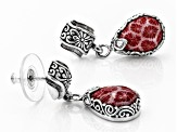 Red Indonesian Coral Silver Earrings