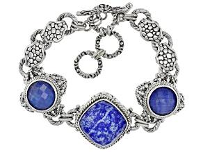 Blue Lapis Lazuli Triplet Silver Bracelet
