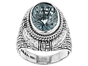 Blue Waterspout™ Mystic Quartz® Sterling Silver Ring 5.01ctw