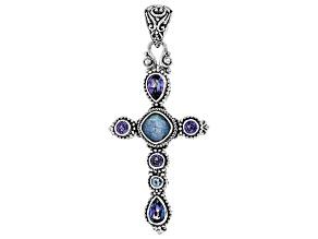 Blue Quartz Triplet, Silver Cross Pendant 2.74ctw