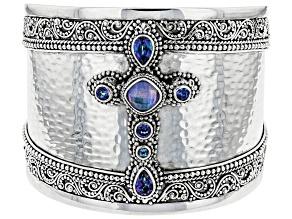 Blue Quartz Triplet Silver Cuff 2.74ctw