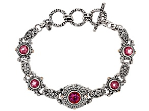 Pink Blessed™ Mystic Topaz® Silver And 18k Gold Bracelet 5.28ctw