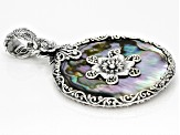 Multicolor Abalone Shell Sterling Silver Pendant