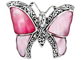 Pink Mother Of Pearl Sterling Silver Butterfly Ring