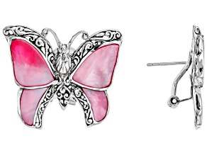Pink Mother Of Pearl Sterling Silver Butterfly Earrings