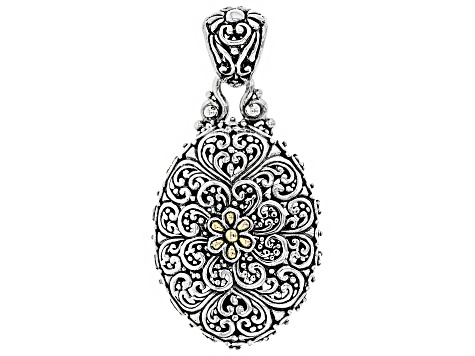Sterling Silver And 18k Gold Accent Flower Pendant