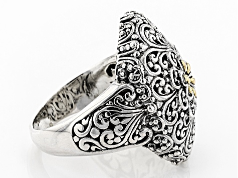 Sterling Silver And 18k Gold Accent Flower Ring