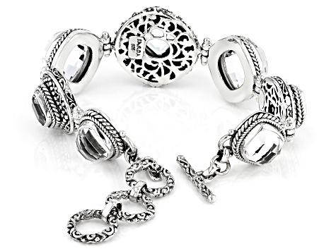 White Quartz Sterling Silver Bracelet 39 51ctw