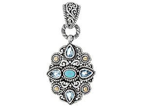 Turquoise Silver & 18k Gold Accent Pendant 1.68ctw