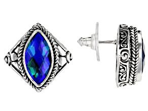 Rainbow Paraiba Color Caribbean Quartz Triplet Silver Earrings