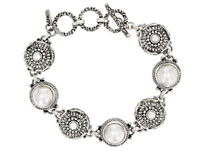 White Cultured Mabe Pearl Silver Bracelet