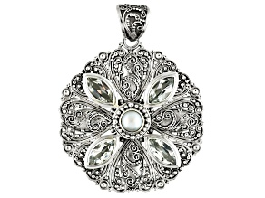White Topaz Sterling Silver Pendant 5.60ctw