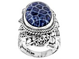 Blue Indonesian Coral Sterling Silver Ring
