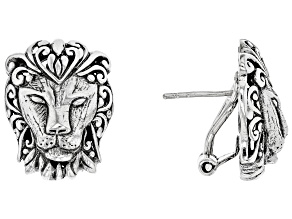 Sterling Silver Lion Head Earrings