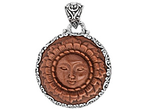 Brown Goldstone Silver Pendant