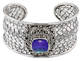 Rainbow Tanzanite Blue Color Quartz Triplet Silver Bracelet