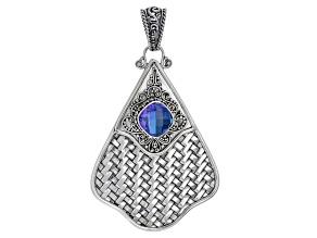 Rainbow Tanzanite Blue Color Quartz Triplet Silver Pendant