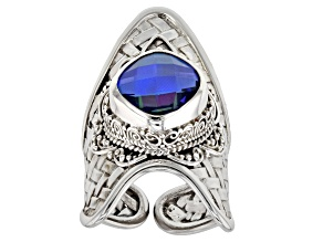 Rainbow Tanzanite Blue Color Quartz Triplet Silver Ring