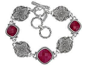 Red Fuchsia Chalcedony Silver Bracelet