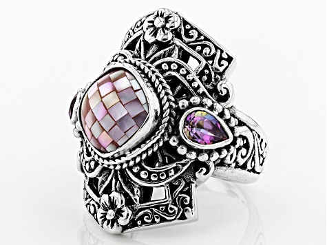 Pink Mosaic Mother of Pearl Silver Ring 0.86ctw