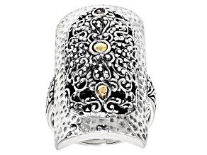 Silver And 18k Gold Accent Ring