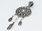 White Cultured Freshwater Pearl Silver Dream Catcher Pendant
