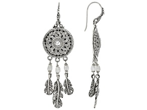 White Cultured Freshwater Pearl Silver Earrings