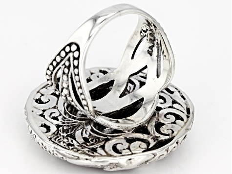 Black Mother Of Pearl Silver Ring