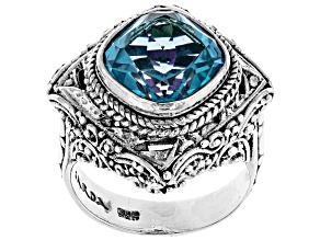 Blue Fiji Play™ Quartz Silver Ring 4.34ct