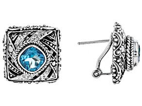 Blue Fiji Play™ Quartz Silver Earrings 2.46ctw