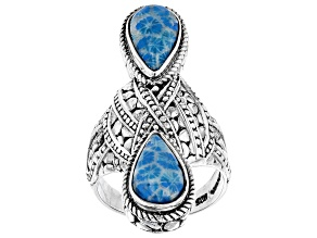 Powder Blue Indonesian Coral Silver Ring
