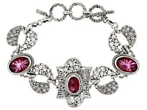 Pink Elegant Rose™ Mystic Quartz® Silver Bracelet 15.34ctw