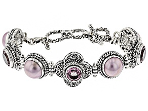 Pink Mabe Pearl Silver Bracelet 7.40ctw