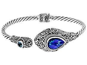 Blue Rainbow Paraiba Caribbean Quartz Triplet Silver Bracelet 0.51ctw