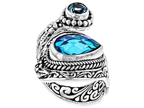 Blue Rainbow Paraiba Caribbean Quartz Triplet Silver Ring 0.51ctw