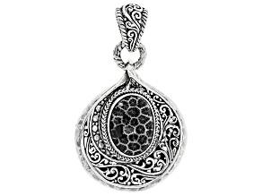 Black Indonesian Coral Silver Pendant