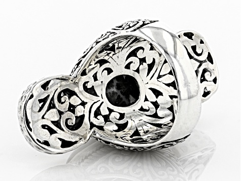 Black Indonesian Coral Silver Ring